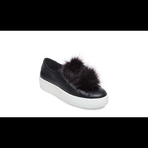 Steve Madden Black Fur Platform Sneakers